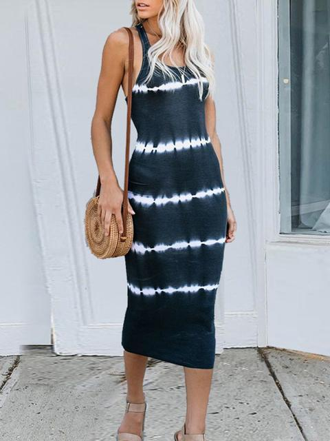 Tie-dye Striped Print Sleeveless Maxi Dress