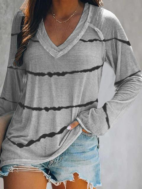 Tie-dye Striped V Neck Blouses