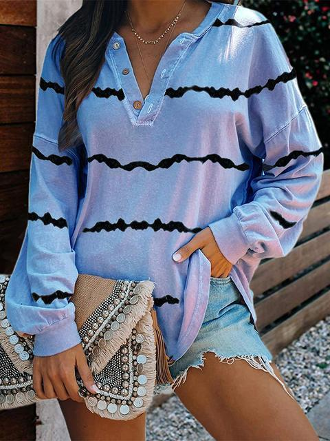 Tie-dye Stripes Print V-neck Tops