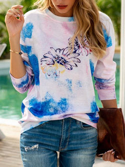 Tie-dye Sunflower Print Casual Tops