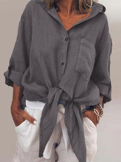 V Neck Long Sleeve Casual Solid Pockets Blouse
