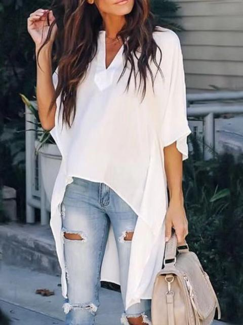 V-neck Loose Raglan Sleeve Tops