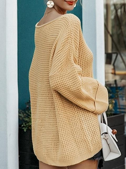 V Neck Loose Solid Sweater