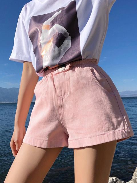 Vintage Solid  Denim Shorts