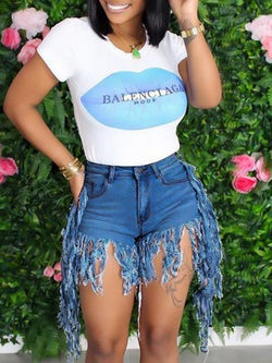 Vintage Denim Tassel Shorts