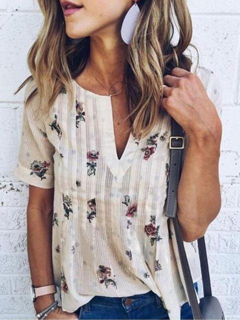 Vintage Flower Print V Neck Tops