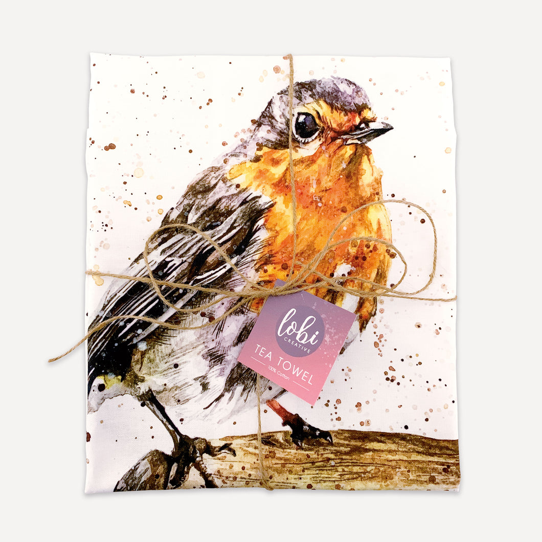 LIMITED EDITION Garden Robin Tea Towel