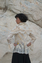 Load image into Gallery viewer, Antique Victorian Ribbon Lace Ruffled Blouse