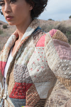 Load image into Gallery viewer, Vintage 1970's Repurposed Antique Quilt Patchwork Blazer w/ Horn Buttons
