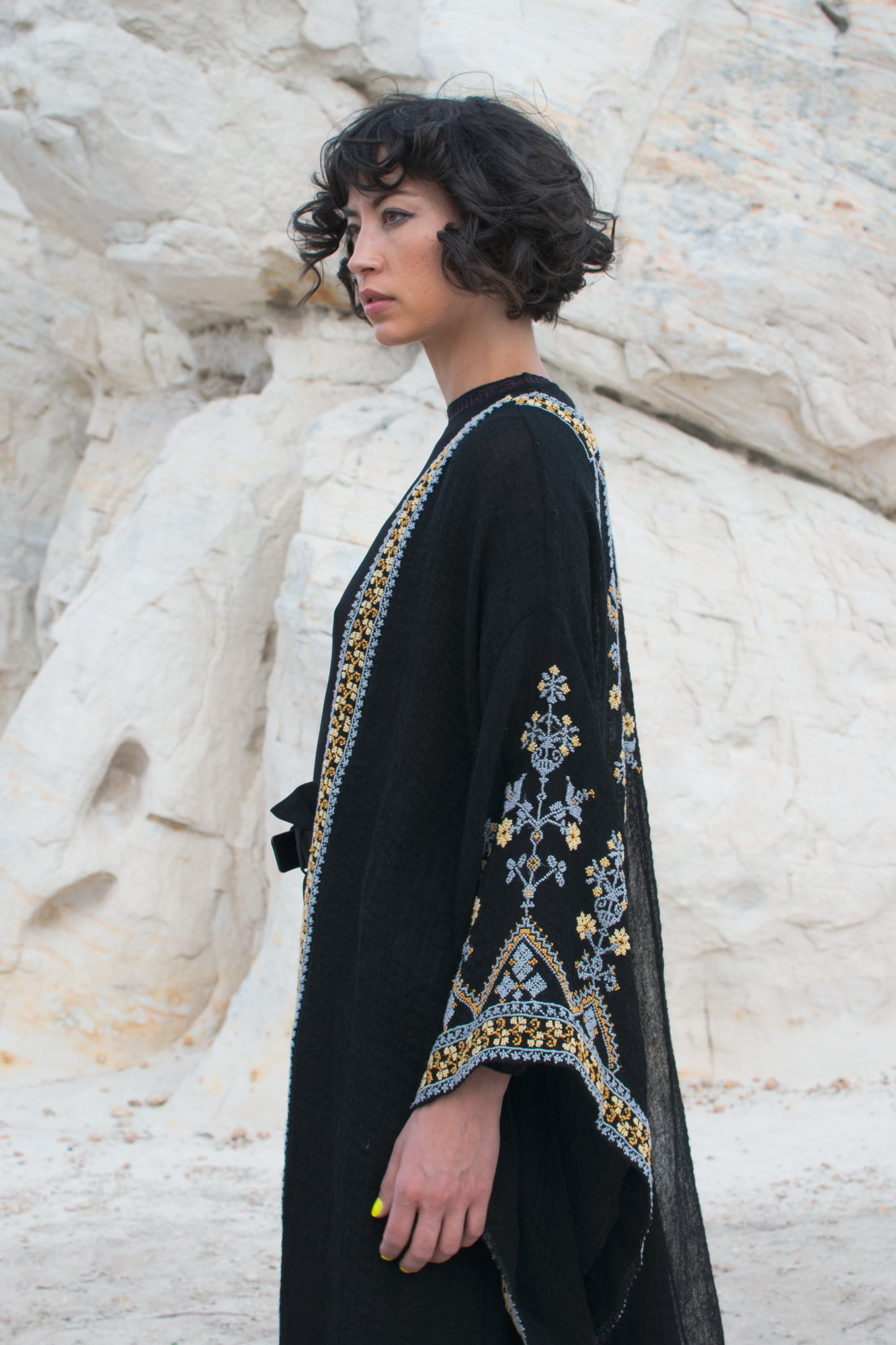 Vintage Ethnic Black Hand Embroidered Robe