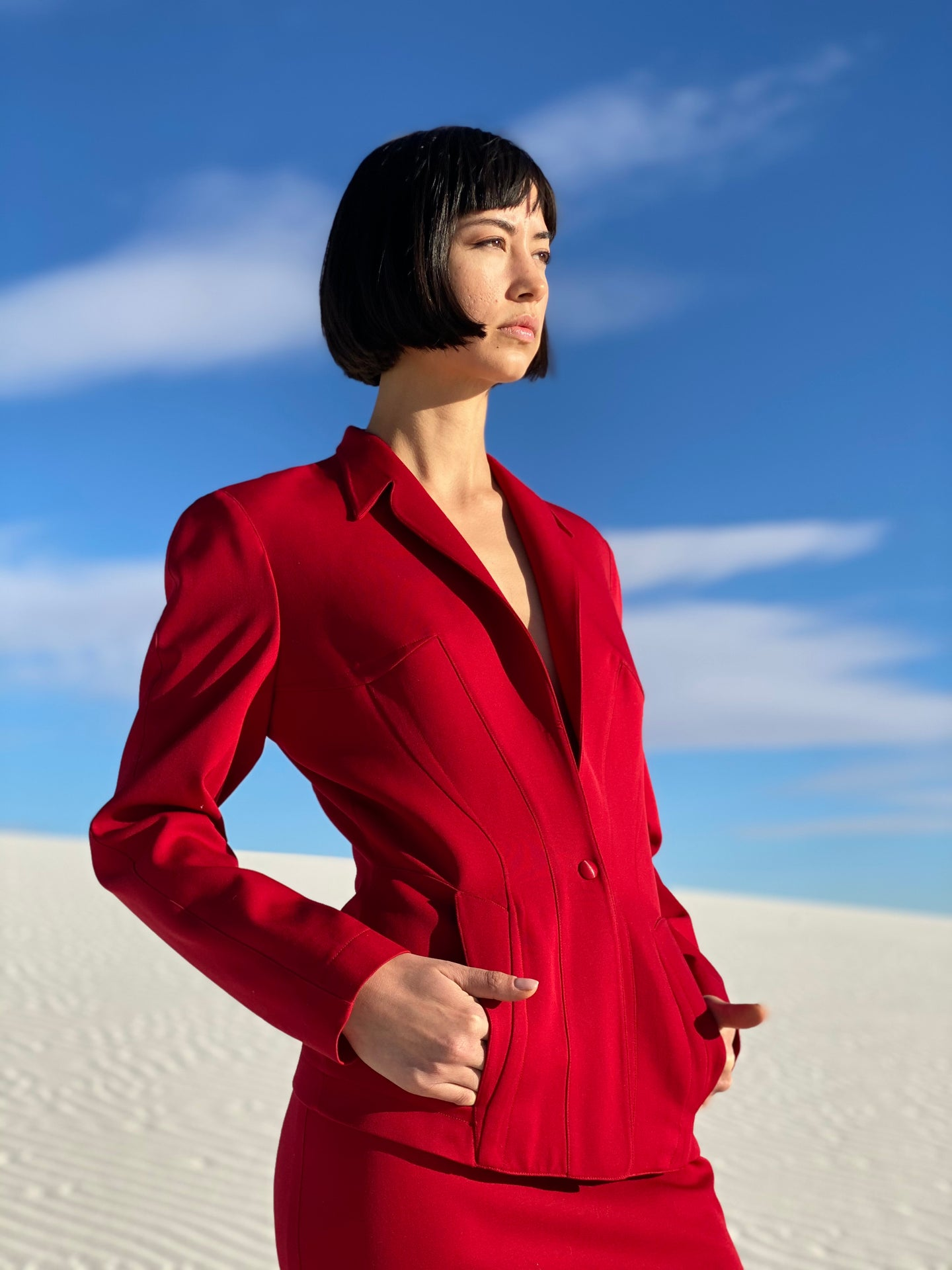 Thierry Mugler Red Skirt Suit