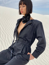 Load image into Gallery viewer, Yves Saint Laurent 1970's  Black Cotton Jumpsuit