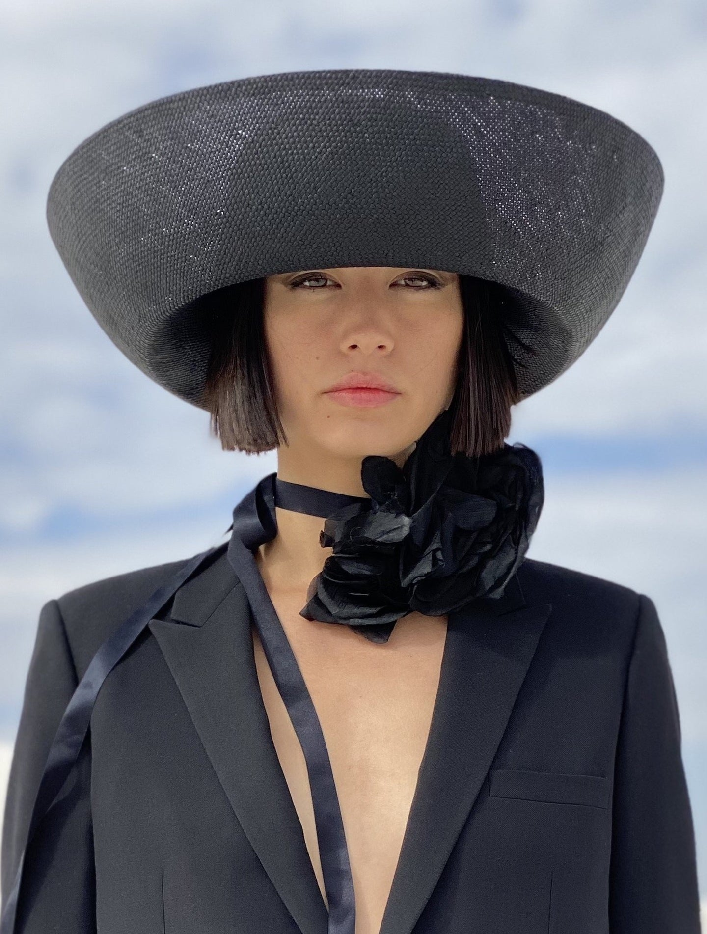 Philippe Model Avant Garde Black Straw Hat