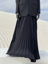 Load image into Gallery viewer, Adolfo Black Silk Pleated Maxi Skirt