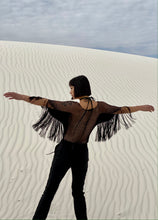 Load image into Gallery viewer, Vivienne Tam Black Suede And Fringe Top
