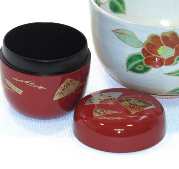 Japanese Powdered Tea Caddy - Red