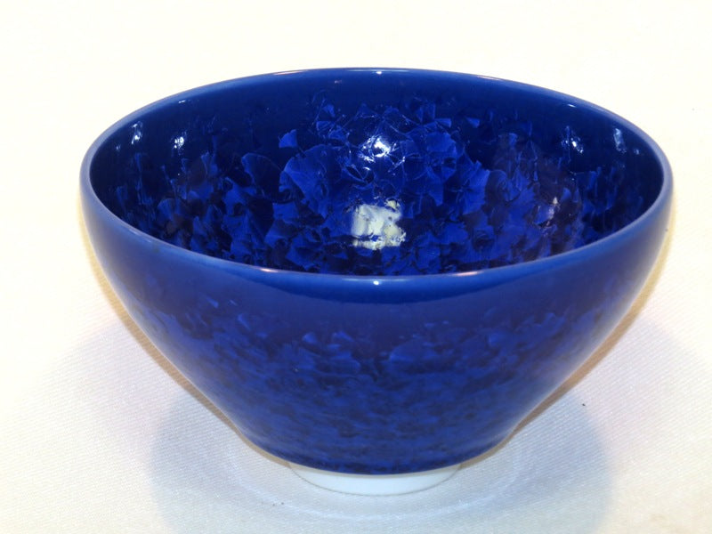 Japanese Mat Cha Tea Bowl - Blue Crystal