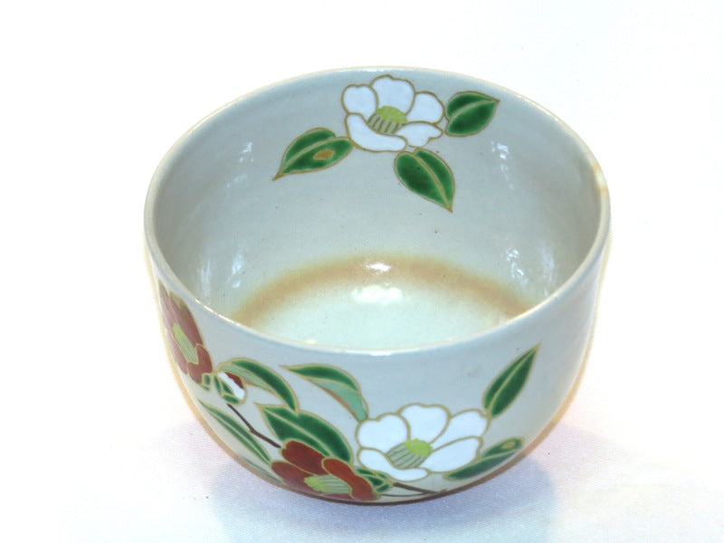 Japanese Mat Cha Tea Bowl - Flowers