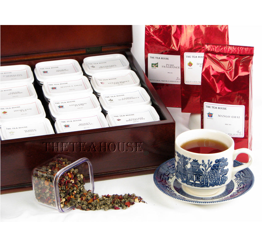 Wooden Tea Chest Filled with 16 Teas