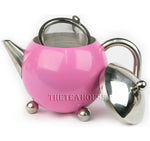 Colored Enamel Teapot W/ Infuser - Pink