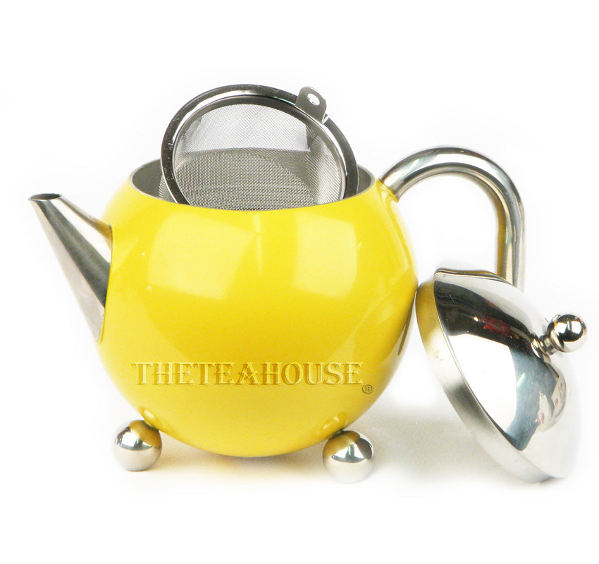 Colored Enamel Teapot W/ Infuser - Yellow