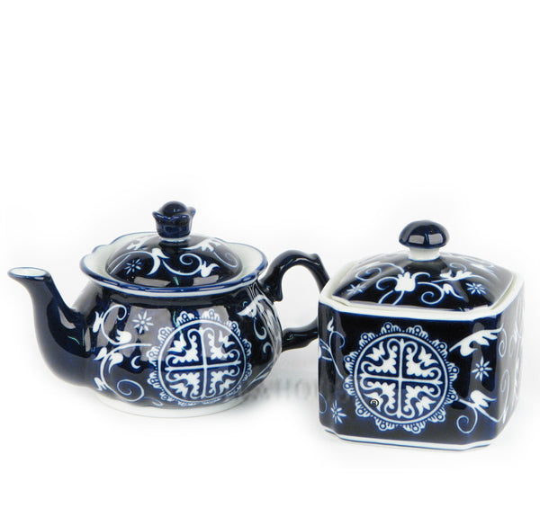 Blue Medallion Tea Set
