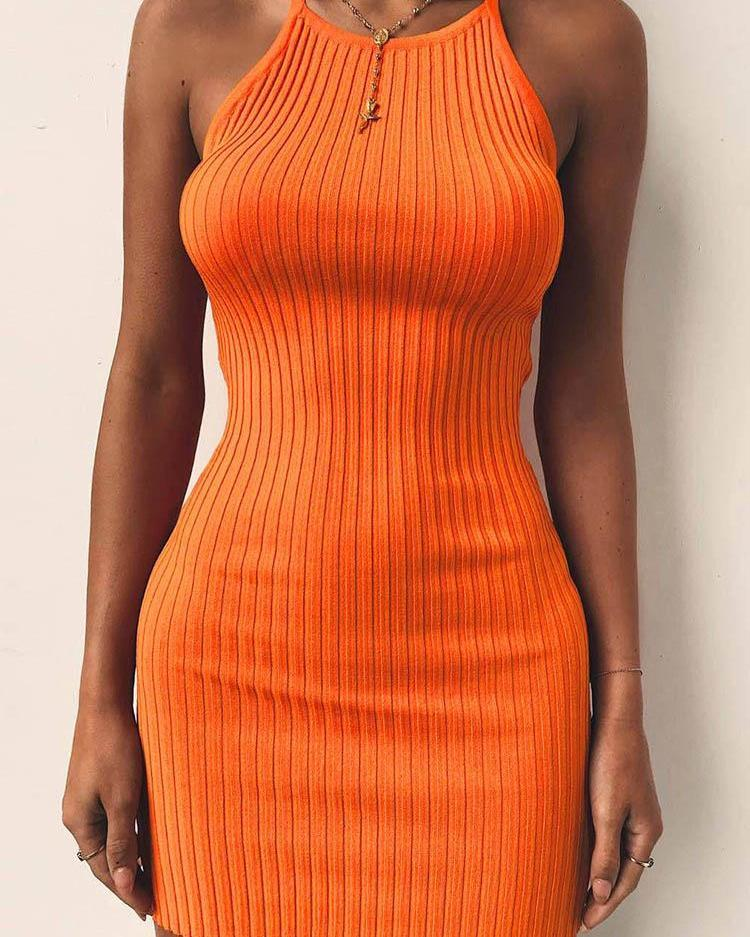 Sleeveless Halter Solid Bodycon Mini Dress
