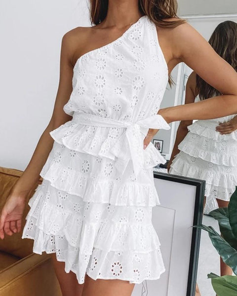 One Shoulder Lace Layered Dress