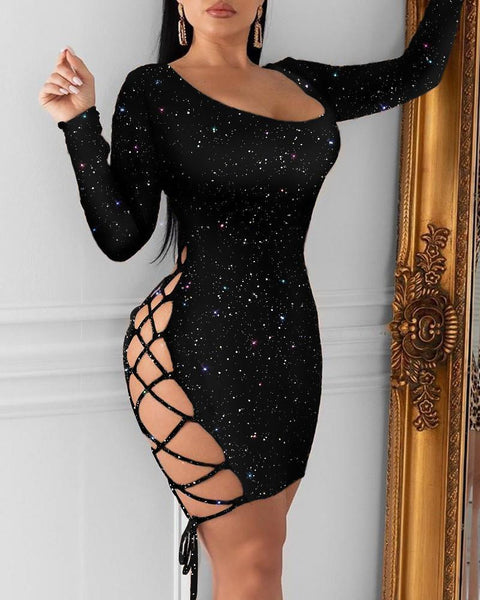 Glitter Lace-Up Sequins Dress