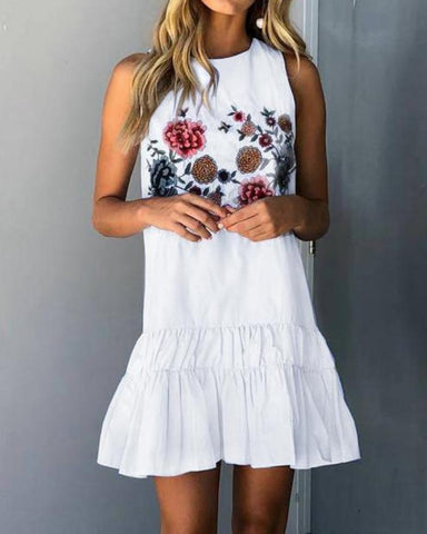Floral Ruffles Hem Sleeveless Mini Dress
