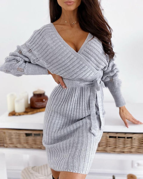 V-Neck Surplice Wrap Ribbed Batwing Sleeve Sweater Bodycon Dress