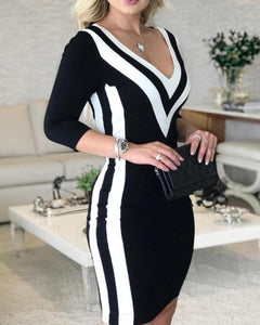 Contrast Color Striped Tape Bodycon Dress