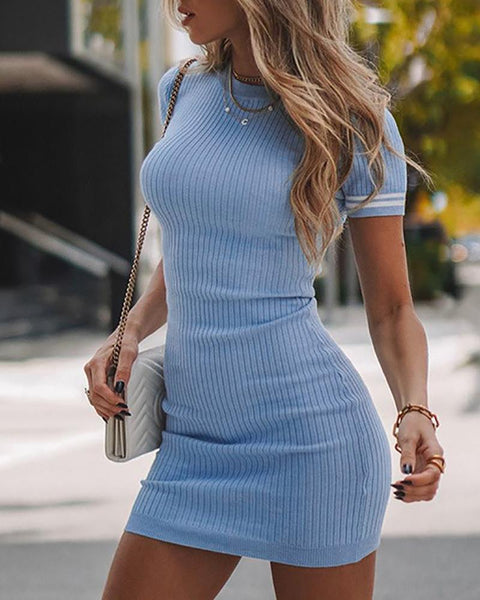 Striped Tape Knitted Short Sleeve Bodycon Dress