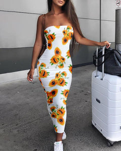 Sunflower Print Bandeau Dress