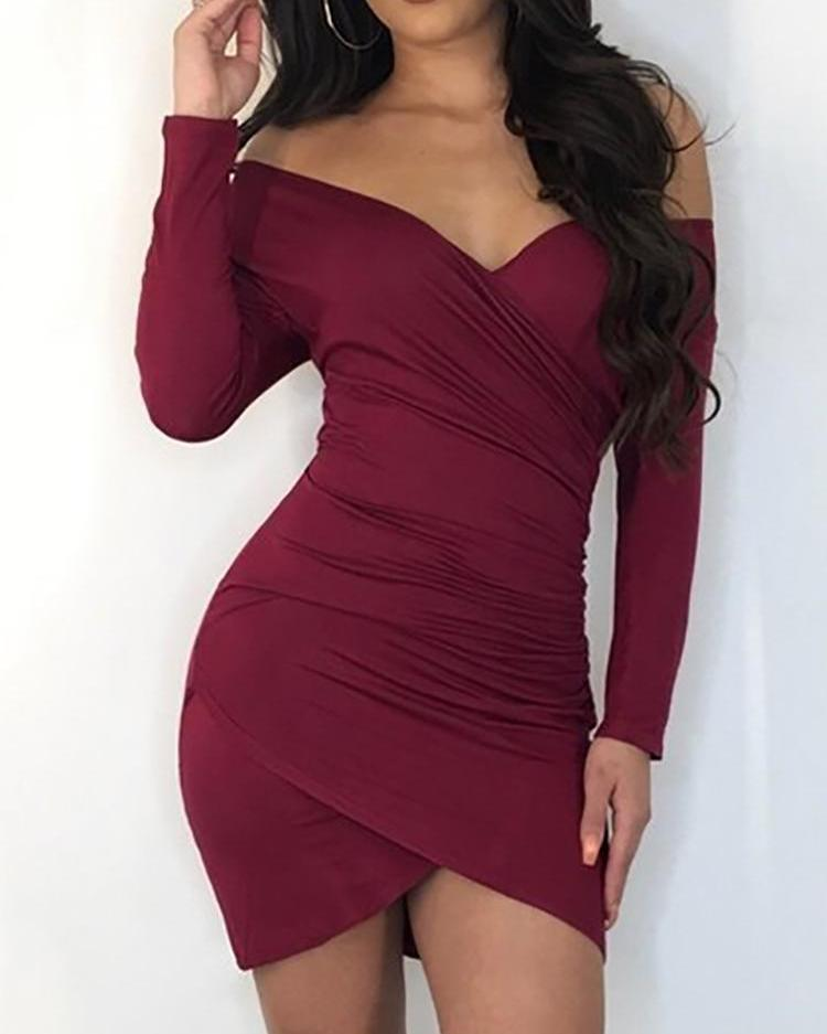 Off Shoulder Scrunched Overlap Bodycon Dress