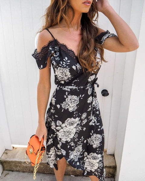 Eyelash Lace Trim Floral Print Dress