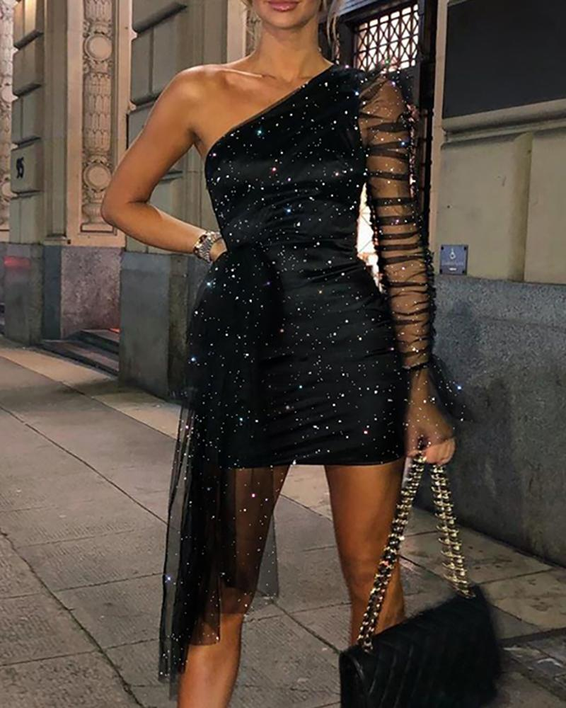 Glitter One Shoulder Sheer Mesh Ruched Party Dress