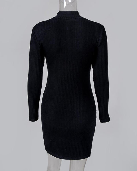 Solid Mock Neck Long Sleeve Ribbed Buttoned Bodycon Dress
