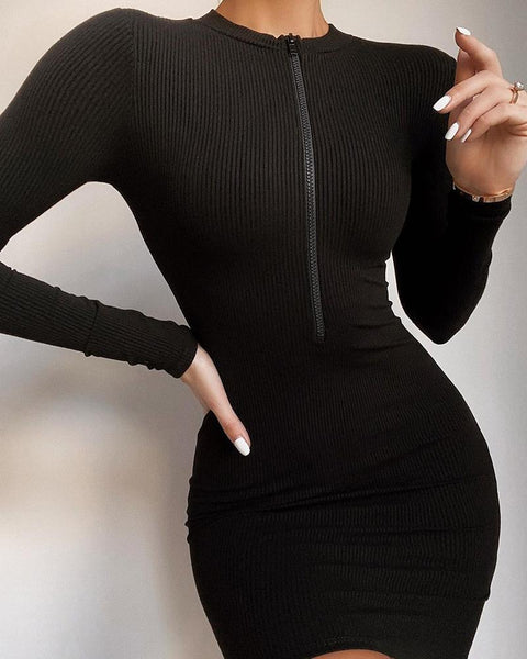 Solid Zip Long Sleeve Ribbed Dress