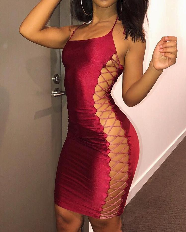 Sexy Side Lace-up Bodycon Dress