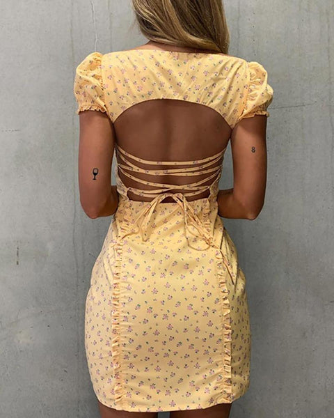 Floral Print Backless Lace-up Dress
