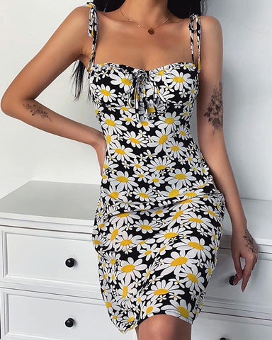 Drawstring Square Neck Daisy Print Dress
