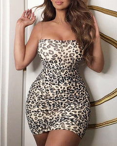 Leopard Print  Minimal Shoulder Straps Mini Dress