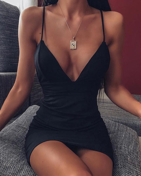 Deep V Bodycon Slip Dress