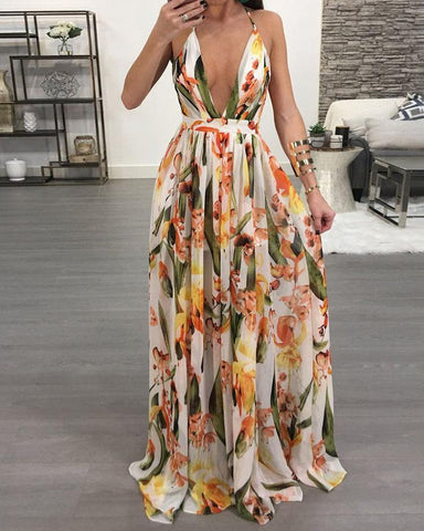 Floral Deep V Neck Backless Maxi Dress
