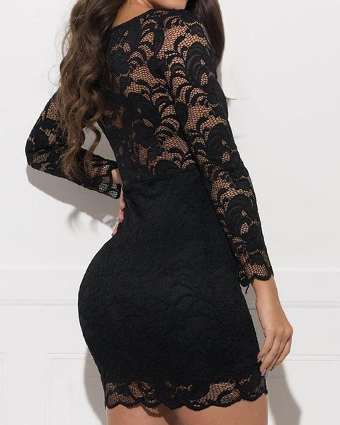 See Through Lace Overlay Mesh Dress