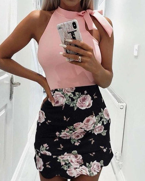 Tied Shoulder Floral Print Splicing Mini Dress