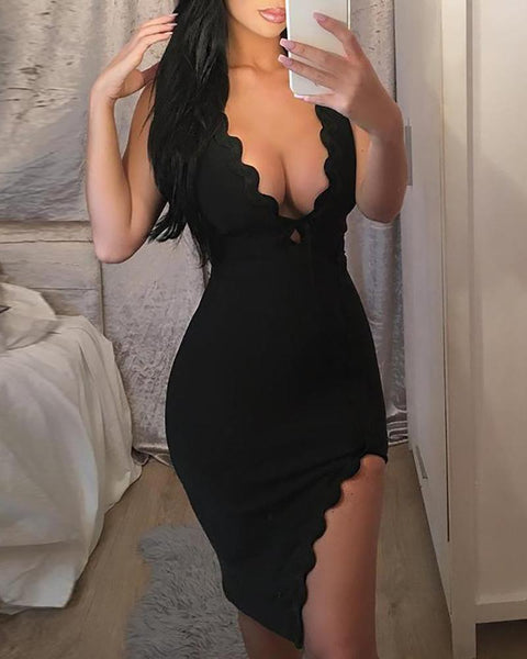 Sexy Deep V Scalloped Split Bodycon Dress