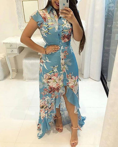 Floral Print Ruffled Dip Hem Maxi Dress
