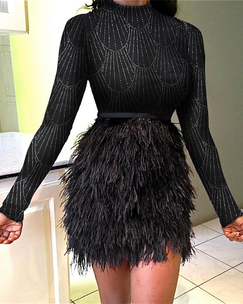 Glitter Mock Neck Feather Insert Long Sleeve Bodycon Dress